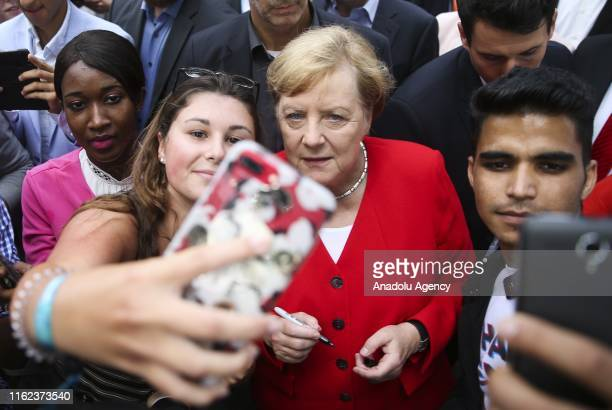German Chancellor Angela Merkel attends the Open Door Day event organized by German Federal Government in Berlin Germany on August 18 2019 Every year...