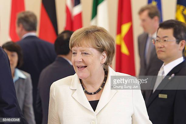 German Chancellor Angela Merkel attends the 'Outreach Session' on May 27 2016 in Kashikojima Japan In the twoday summit the G7 leaders are scheduled...