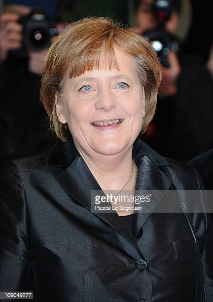 German Chancellor Angela Merkel attends the 'Pina' Premiere during day four of the 61st Berlin International Film Festival at Berlinale Palace on...