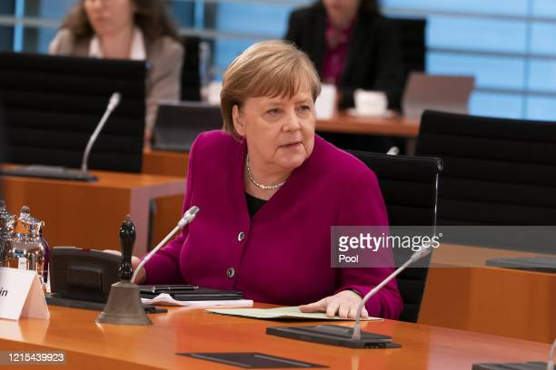 German Chancellor Angela Merkel attends the weekly government cabinet meeting during the coronavirus crisis on May 27 2020 in Berlin Germany Among...