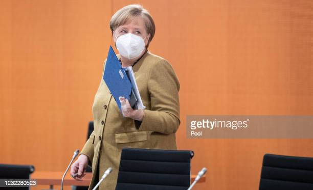 German Chancellor Angela Merkel attends the weekly government cabinet meeting during the third wave of the coronavirus pandemic on April 13, 2021 in...