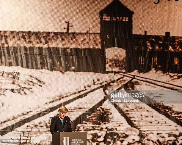 German Chancellor Angela Merkel attends the worldwide memorial day for the 70th anniversary of the liberation of the Auschwitz Concentration Camp on...