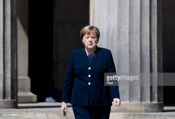 German Chancellor Angela Merkel attends wreath laying ceremony to mark the 75th anniversary of the end of World War Two at the Neue Wache Memorial on...