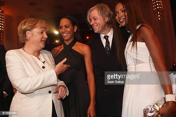 German Chancellor Angela Merkel Barbara Becker Bob Geldof and Naomi Campbell attend the Bild OSGAR Award at City Hall on June 24 2008 in Leipzig...