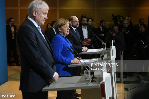 German Chancellor Angela Merkel Bavarian Prime Minister Horst Seehofer and Social Democratic Party SPD chairman Martin Schulz hold a joint press...