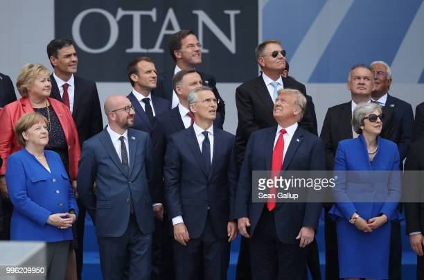 German Chancellor Angela Merkel Belgian Prime Minister Charles Michel NATO Secretary General Jens Stoltenberg US President Donald Trump and British...