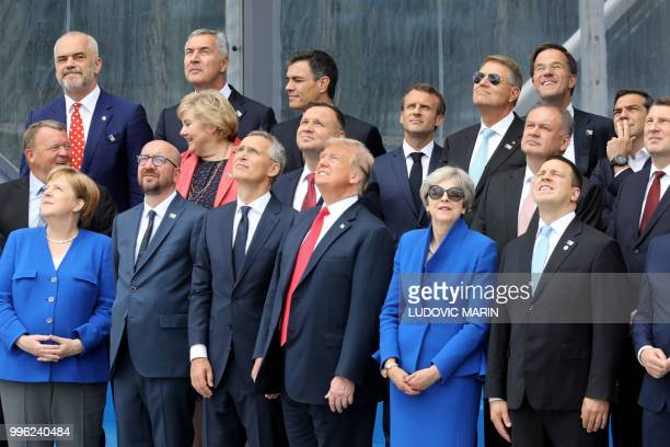 German Chancellor Angela Merkel Belgium's Prime Minister Charles Michel NATO Secretary General Jens Stoltenberg US President Donald Trump Britain's...