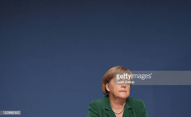 German Chancellor Angela Merkel Chairwoman of the German Christian Democrats attends the second day of the 24th CDU Party Congress on November 15...