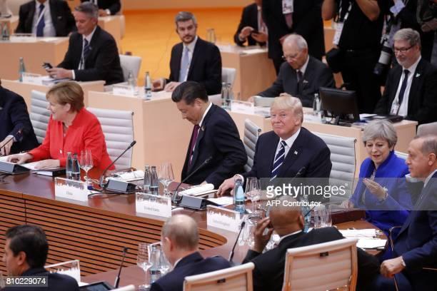 German Chancellor Angela Merkel China's President Xi Jinping US President Donald Trump Britain's Prime Minister Theresa May Turkey's President Recep...