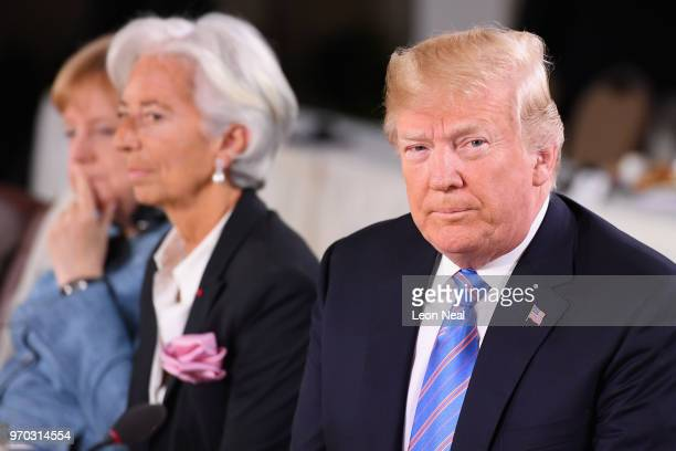 German Chancellor Angela Merkel Christine Lagarde and US President Donald Trump during the Gender Equality Advisory Council working breakfast on the...