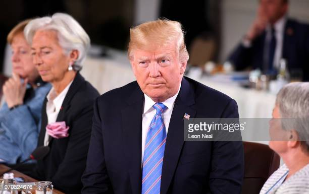 German Chancellor Angela Merkel Christine Lagarde US President Donald Trump and Christine Whitecross during the Gender Equality Advisory Council...
