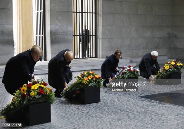 German Chancellor Angela Merkel Claudia Roth Vicepresident of the Bundestag French President Emmanuel Macron and German State president FrankWalter...