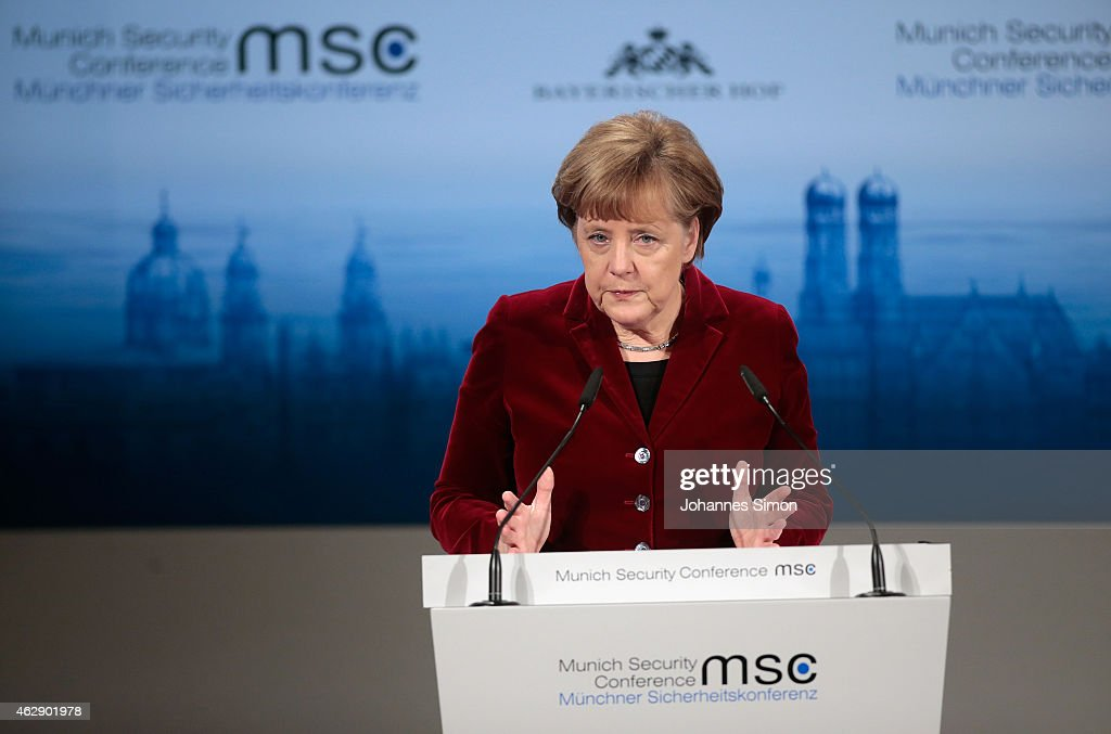 German Chancellor Angela Merkel delivers a key note speech at the 51st Munich Security Conference (MSC) on February 7, 2015 in Munich, Germany. Foreign ministers and defense ministers from countries across the globe are meeting to discuss current global security issues, in particular the crisis in eastern Ukraine, the spread of ISIS in Syria and Iraq and the large-scale movement and plight of refugees.