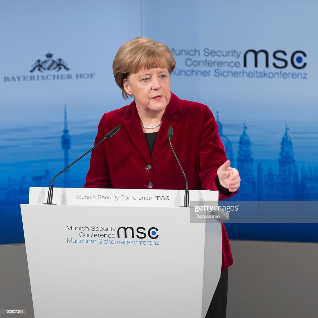 German Chancellor Angela Merkel delivers a keynote speech at the 51st Munich Security Conference (MSC) on February 7, 2015 in Munich, Germany. Foreign ministers and defense ministers from countries across the globe are meeting to discuss current global security issues, in particular the crisis in eastern Ukraine, the spread of ISIS in Syria and Iraq and the large-scale movement and plight of refugees.