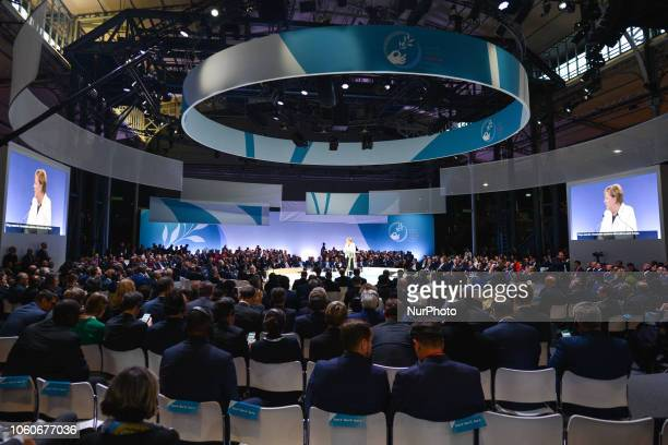 German Chancellor Angela Merkel delivers a speech at the opening session of the Paris Peace Forum an event that is a part of the commemoration...