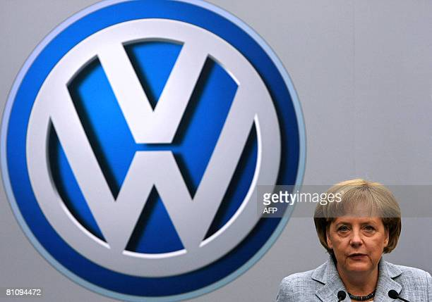 German Chancellor Angela Merkel delivers a speech during a visit to the Volkswagen plant on May 15 in Sao Bernardo do Campo southern Sao Paulo Brazil...