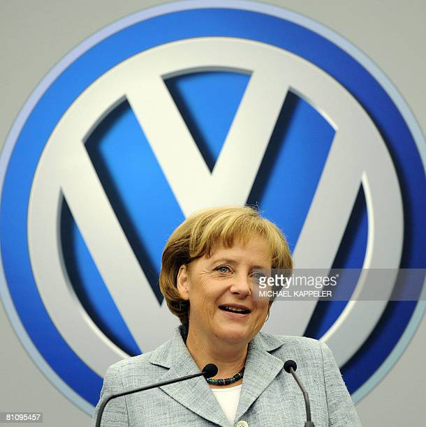 German Chancellor Angela Merkel delivers a speech during a visit to the Volkswagen plant on May 15 in Sao Bernardo do Campo southern Sao Paulo...