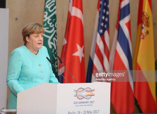 German Chancellor Angela Merkel delivers a speech during the G20 Germany 2017 - Health Ministers' Meeting in Berlin, Germany on May 19, 2017.