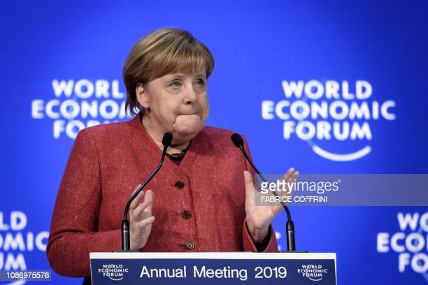 German chancellor Angela Merkel delivers a speech during the World Economic Forum annual meeting on January 23 2019 in Davos eastern Switzerland