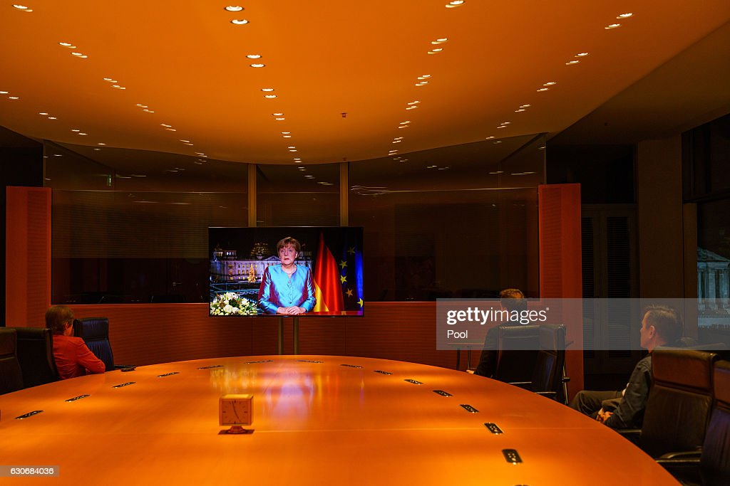 German Chancellor Angela Merkel delivers her New Year's Speech on December 30, 2016 in Berlin, Germany.