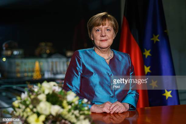 German Chancellor Angela Merkel delivers her New Year's Speech on December 30 2016 in Berlin Germany