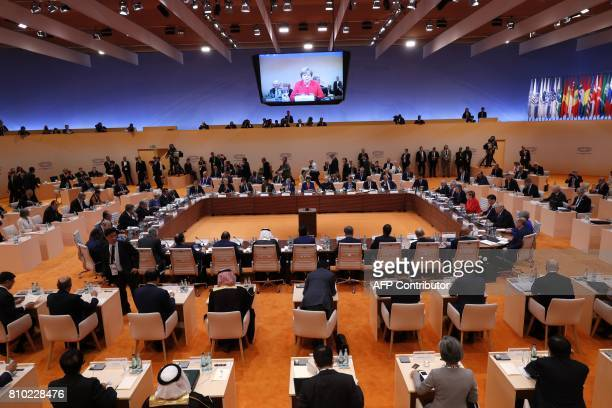 German Chancellor Angela Merkel delivers her speech at the start of the first working session of the G20 meeting in Hamburg northern Germany on July...
