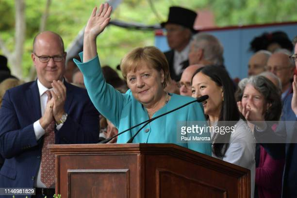 German Chancellor Angela Merkel delivers the Commencement Address at the Annual Meeting of the Harvard Alumni Association at Harvard's 368th annual...