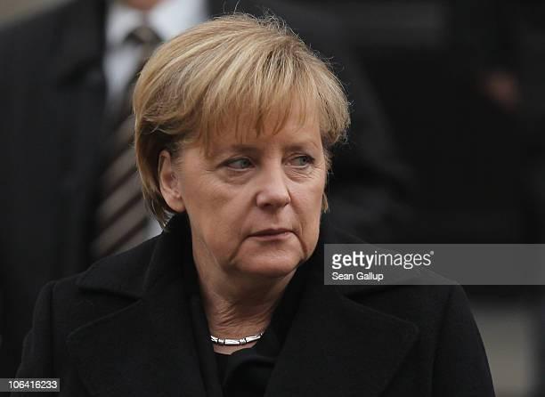 German Chancellor Angela Merkel departs following the memorial service for Loki Schmidt wife of former German Chancellor Helmut Schmidt at the St...