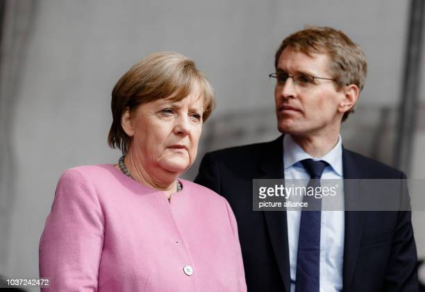 German Chancellor Angela Merkel during a CDU election campaign event in Moelln Germany 28 April 2017 Lead candidate from the state of...
