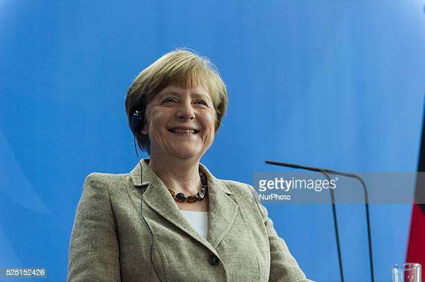 German Chancellor Angela Merkel during a joint press conference with British Prime Minister David Cameron at the German Chancellery in Berlin Germany...