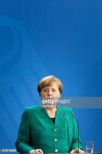 German Chancellor Angela Merkel during a news conference with Polish Prime Minister Mateusz Morawiecki following their meeting in Federal Chancellery...