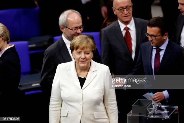 German Chancellor Angela Merkel during her election by the Bundestag for a fourth term as chancellor on March 14 2018 in Berlin Germany Members of...