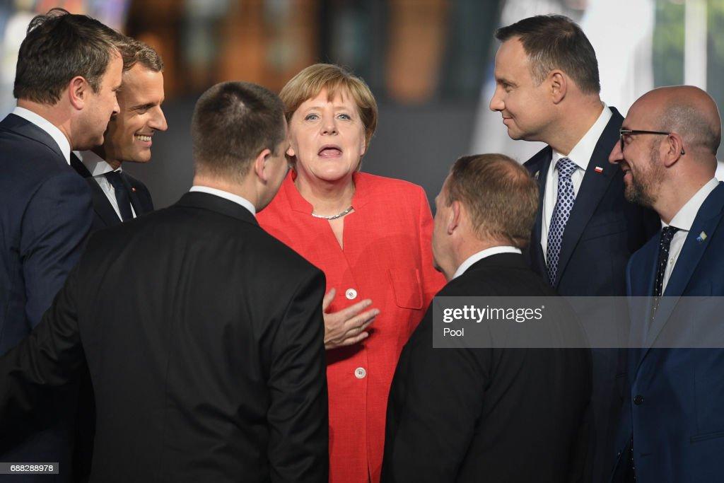 German Chancellor Angela Merkel (centre) during the North Atlantic Treaty Organisation (NATO) summit on May 25, 2017 in Brussels, Belgium.