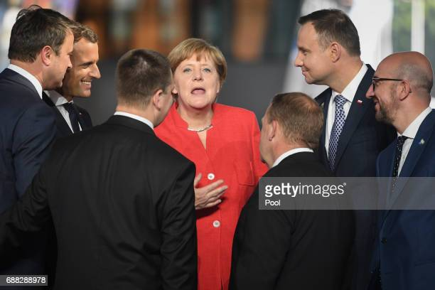 German Chancellor Angela Merkel during the North Atlantic Treaty Organisation summit on May 25 2017 in Brussels Belgium