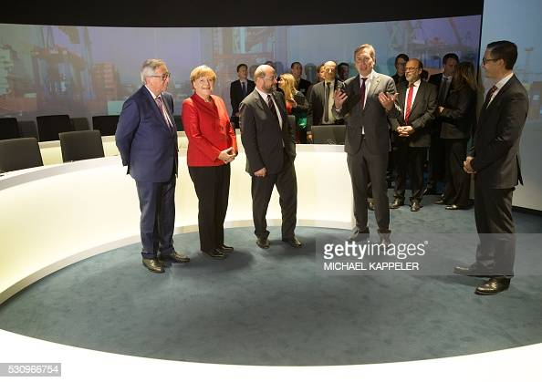German chancellor angela merkel 2l european commission president jean claude juncker l and - European commission office ...