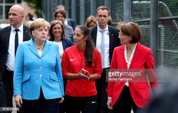German Chancellor Angela Merkel Federal Commissioner for Migration Refugees and Integration Annette WidmannMauz and coach Birguel Erbay arrive for a...