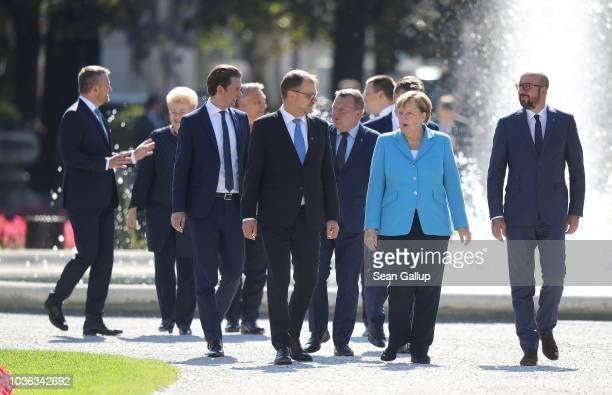 German Chancellor Angela Merkel , Finnish Prime Minister Juha Sipila , Belgian Prime Minister Charles Michel and other leaders arrive for family...
