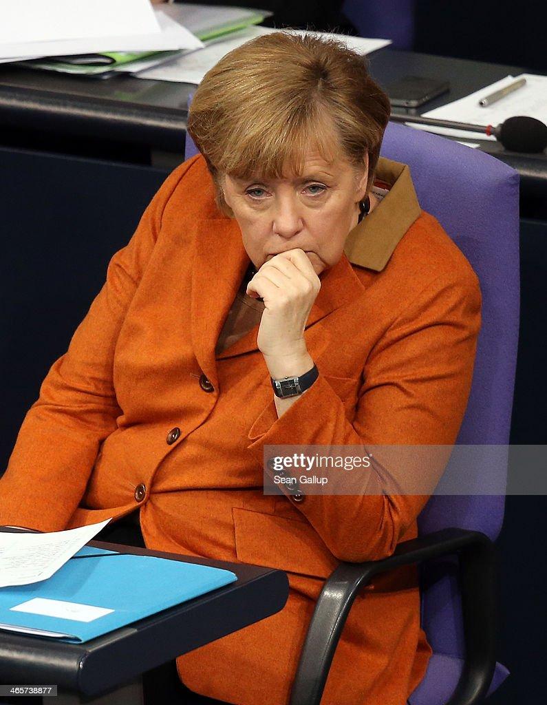 Merkel Gives Government Declaration At Bundestag : News Photo