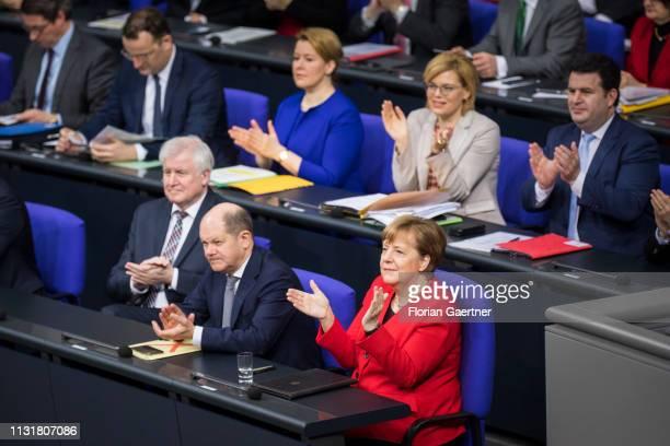 German Chancellor Angela Merkel , German Finance Minister Olaf Scholz , German Interior Minister Horst Seehofer , German Minister of Work and Social...
