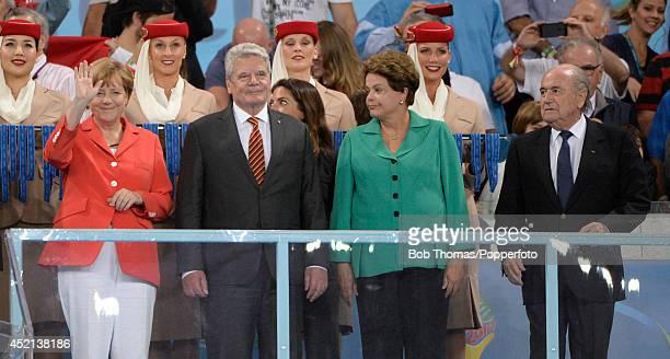 German Chancellor Angela Merkel German President Joachim Gauck President of Brazil Dilma Rousseff and Fifa President Sepp Blatter after the 2014 FIFA...