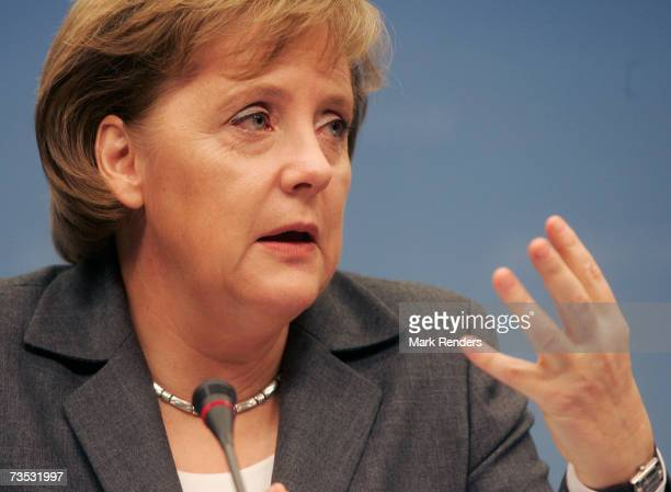 German Chancellor Angela Merkel gestures during a press conference at the Justus Liptius Building for the EU Summit on March 09 2007 in the Belgian...