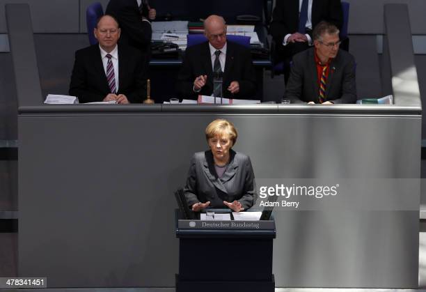 German Chancellor Angela Merkel gives a government statement on the situation in Ukraine in the Bundestag or German federal Parliament on March 13...