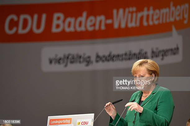 German Chancellor Angela Merkel gives a speech at a regional convention of her Christian Democratic Union party in Heilbronn southwestern Germany on...