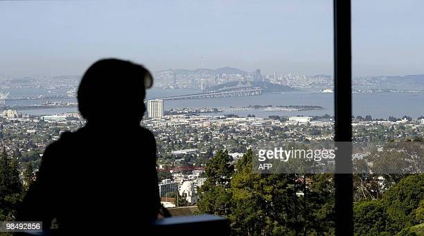 German Chancellor Angela Merkel gives a speech at the Lawrence Berkeley National Laboratory in San Francisco on April 15 behind her can be seen the...
