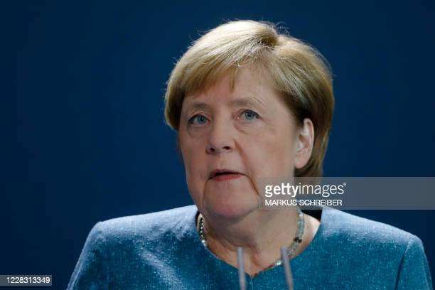 German Chancellor Angela Merkel gives a statement on September 2, 2020 at the Chancellery in Berlin after tests carried out by the German army on...