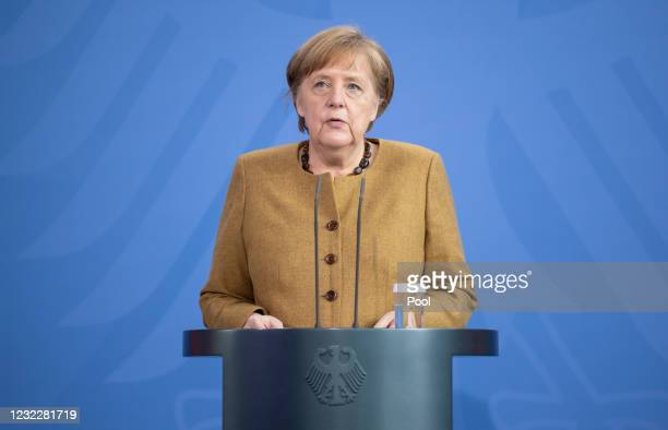 German Chancellor Angela Merkel gives a statement on the latest coronavirus measures after a Cabinet Meeting on April 13, 2021 in Berlin, Germany.