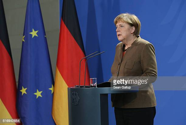 German Chancellor Angela Merkel gives a statement to the media following today's terrorist attacks in Brussels on March 22 2016 in Berlin Germany The...
