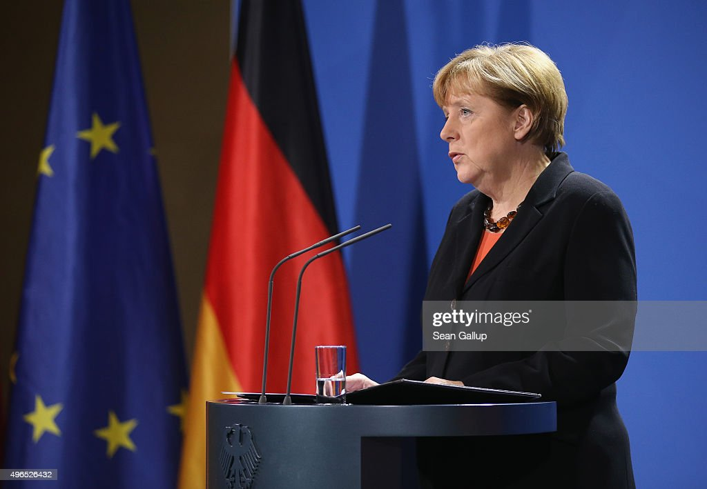 German Chancellor Angela Merkel gives a statement to the media following news earlier in the day that former German Chancellor Helmut Schmidt has died on November 10, 2015 in Berlin, Germany. Schmidt, a German Social Democrat (SPD), led West Germany as chancellor from 1974 until 1982. He died today in Hamburg at the age of 96.