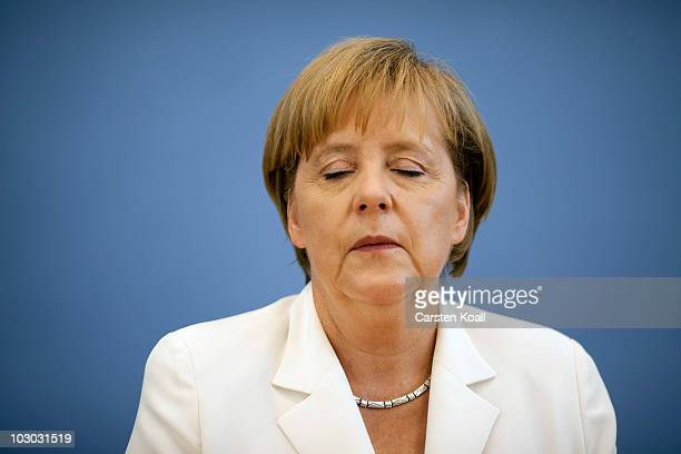 German Chancellor Angela Merkel gives her last press conference before going on holidays on July 21 2010 in Berlin Germany