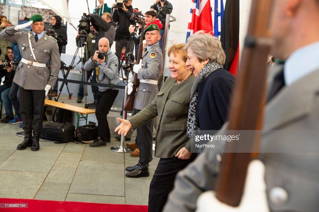Merkel receives May : News Photo